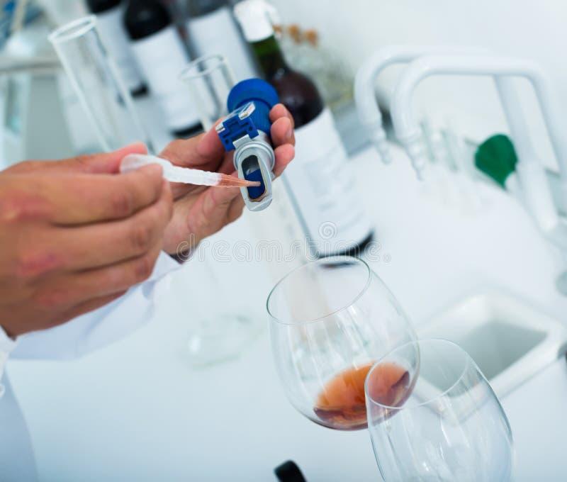 Ciérrese para arriba en las manos que prueban el vino en laboratorio fotos de archivo