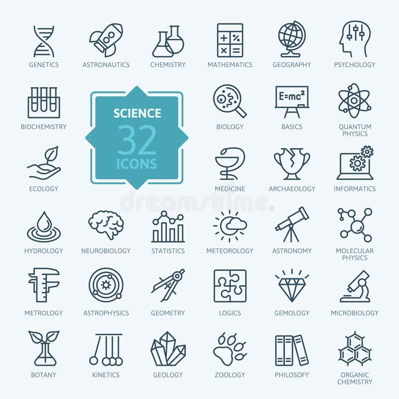 Ciência, activityelements científicos - linha fina mínima grupo do ícone da Web ilustração royalty free