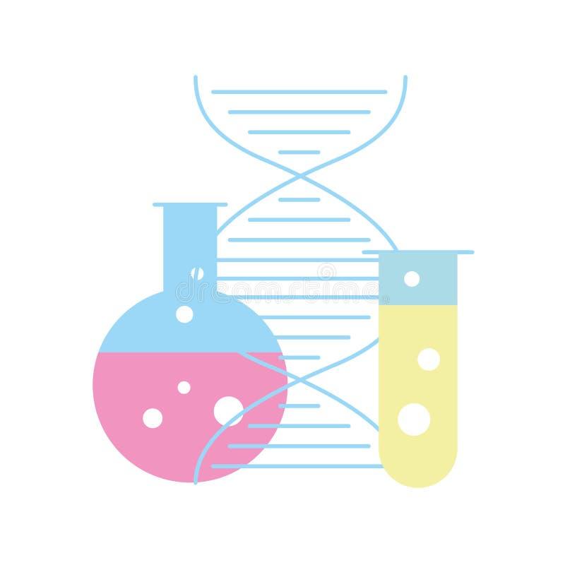 Ciência da molécula do ADN do tubo de análise laboratorial da biologia ilustração stock