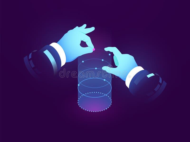 Ciência dos dados e introspecções, controle da mão do homem, visualização da experiência, gráfico do fluxo de dados, manipulação  ilustração royalty free