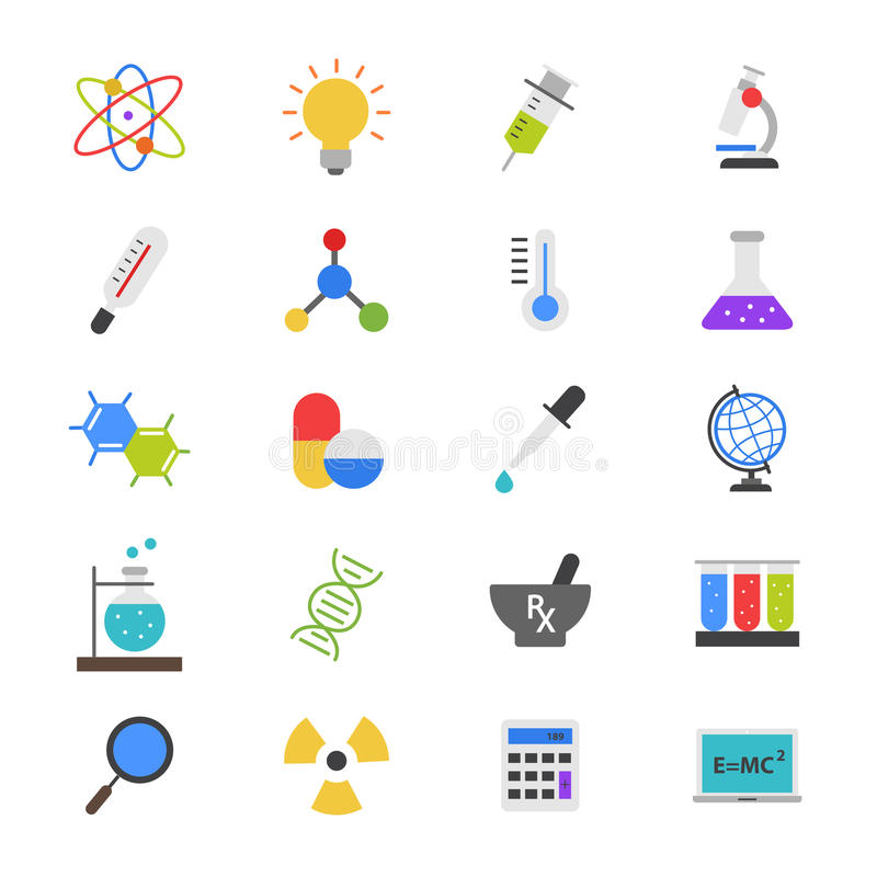 Ciência e ícones lisos médicos da cor ilustração stock