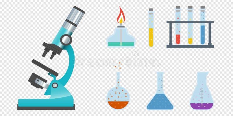 Ciência e cientista, laboratório de ciência, química do laboratório, pesquisa científica, microscópio e experiência, labo ilustração do vetor
