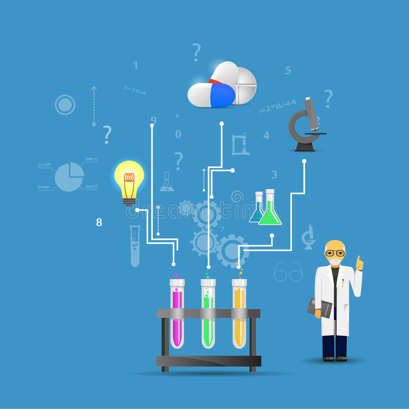 Ciência e medicina infographic no fundo azul (chemica grande ilustração do vetor
