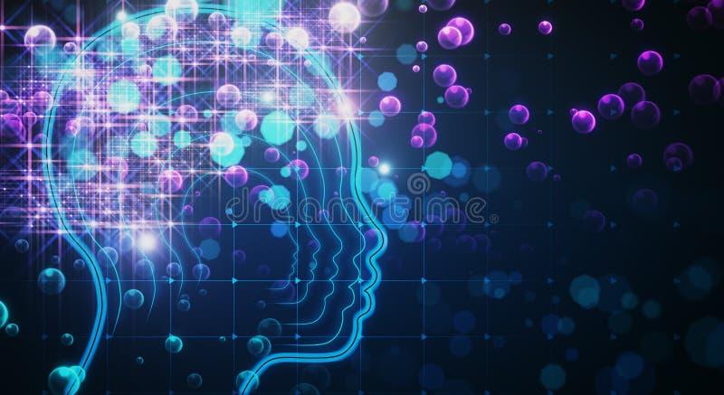 Ciência, inteligência artificial e papel de parede da inovação ilustração stock
