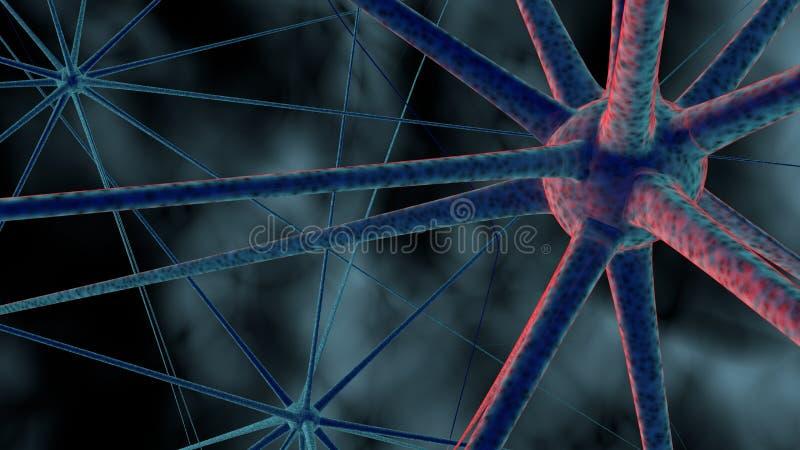 Ciência ou fundo médico com moléculas, vírus da rendição 3d, bactérias, pilha Sistema de neurônios Genético, científico ilustração stock