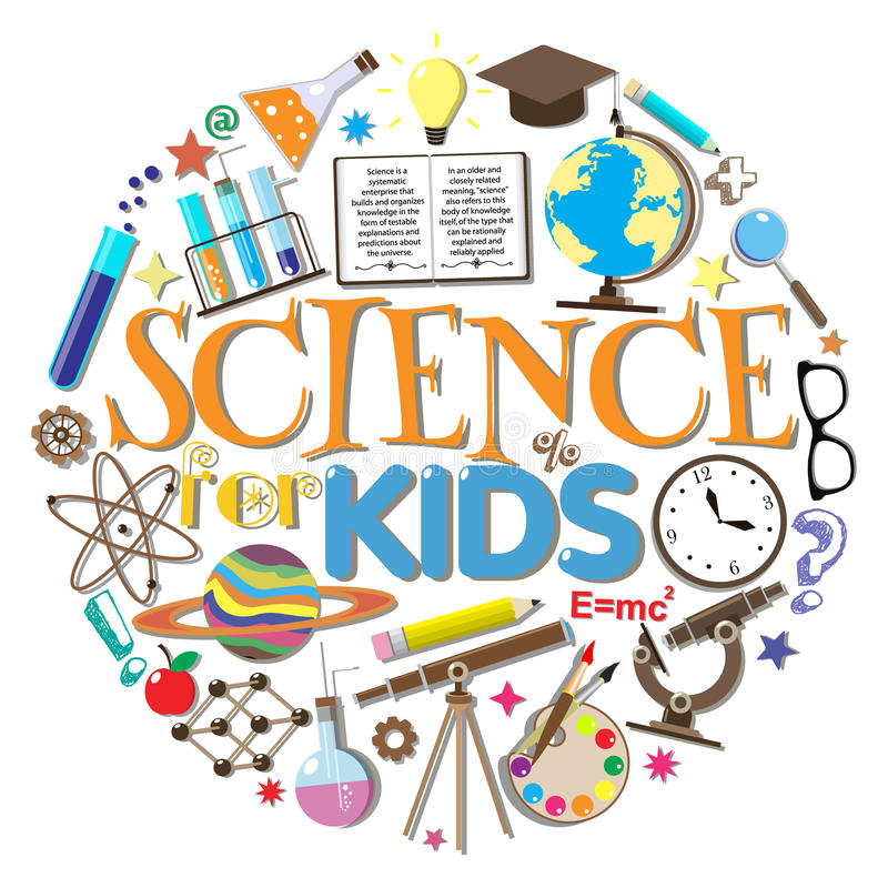 Ciência para miúdos Símbolos e projeto da escola ilustração royalty free
