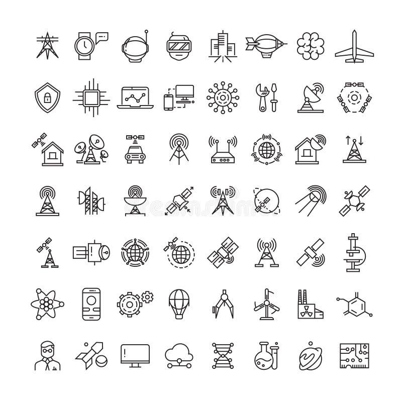 Ciência, tecnologias e linha satélite coleção dos ícones ilustração royalty free