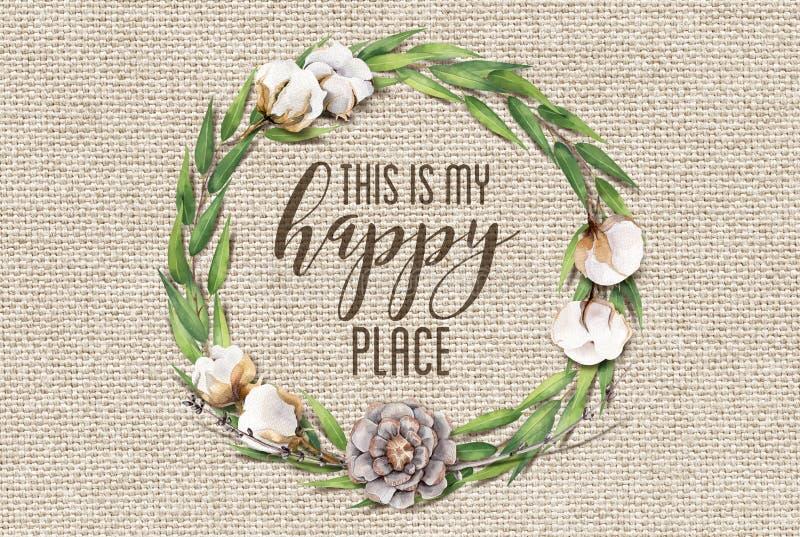 Ciò è la mia corona floreale del cotone felice del posto con fondo elegante misero di legno fotografia stock