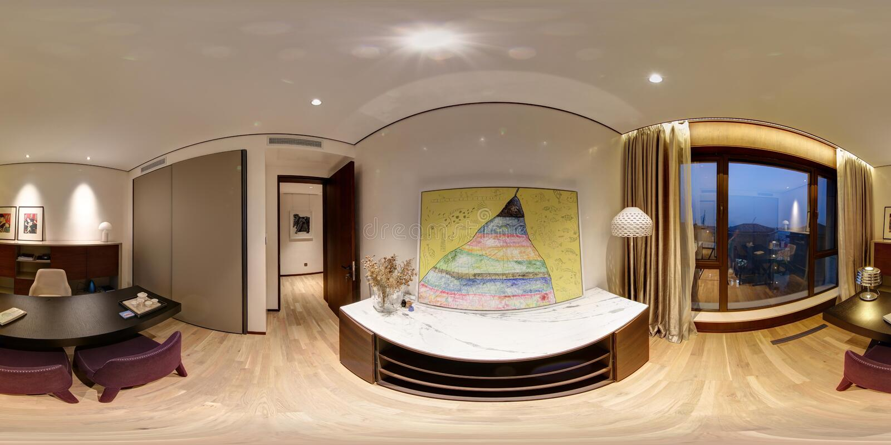Ciò è un appartamento ben-decorato con una vista panoramica di 360 gradi fotografia stock