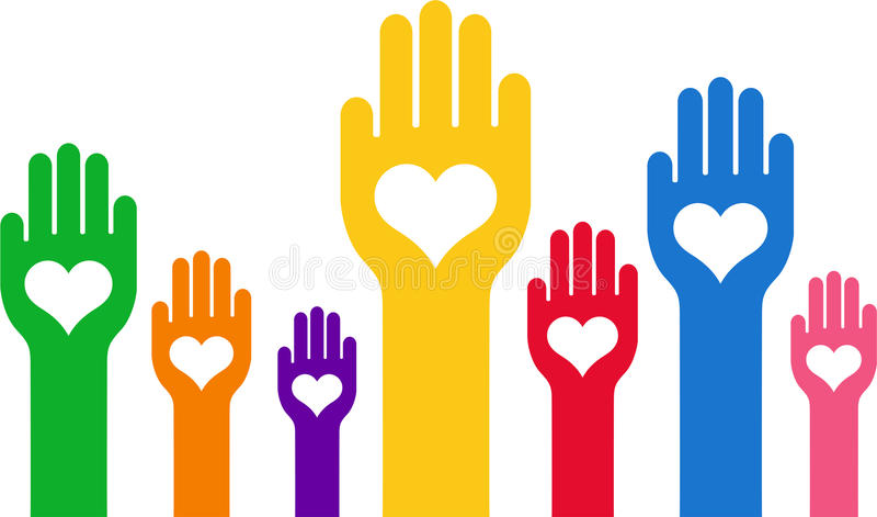 Mani con un cuore in mezzo alla palma illustrazione di stock