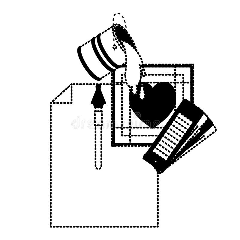 Ciąć na arkusze w piórze i kolor palecie pustego miejsca i fontanny przewdonika i farby wiadro i kierowy projekt w czerń kropkują royalty ilustracja