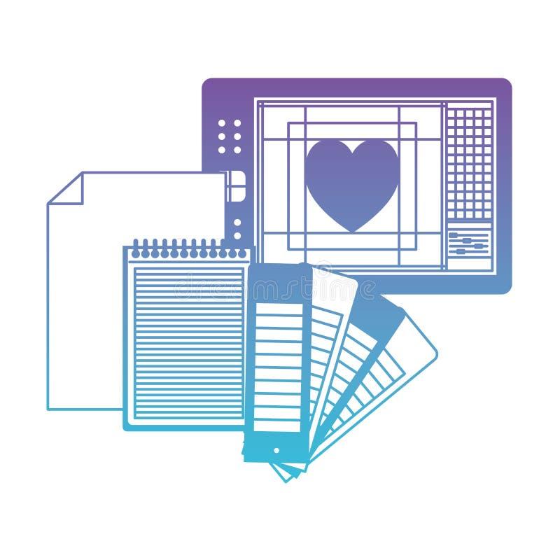 Ciąć na arkusze w przewdoniku i kierowym projekcie błękita kontur w spodlonych purpurach pustego i ślimakowatego notatnika ilustracji