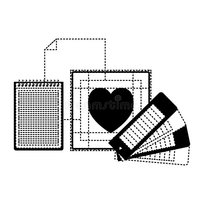 Ciąć na arkusze w przewdoniku i kierowym projekcie w czerń kropkującym konturze pustego i ślimakowatego notatnika royalty ilustracja