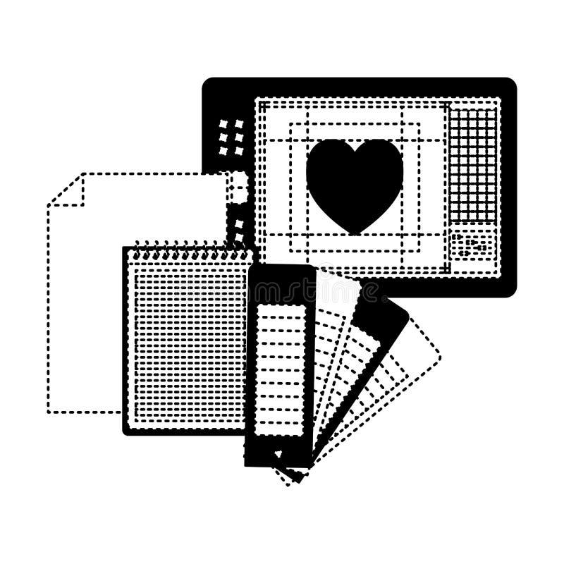 Ciąć na arkusze w przewdoniku i kierowym projekcie w czerń kropkującym konturze pustego i ślimakowatego notatnika ilustracji