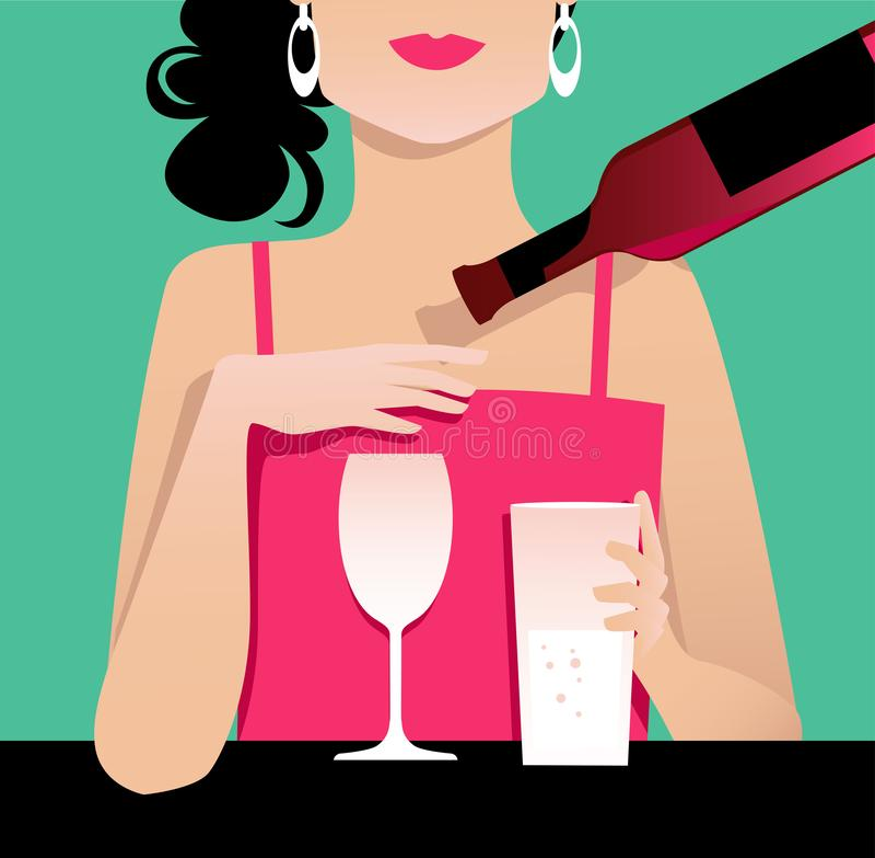 Ciąć w dół na alkoholu ilustracji