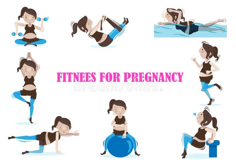 Ciążowa sprawność fizyczna ilustracja wektor