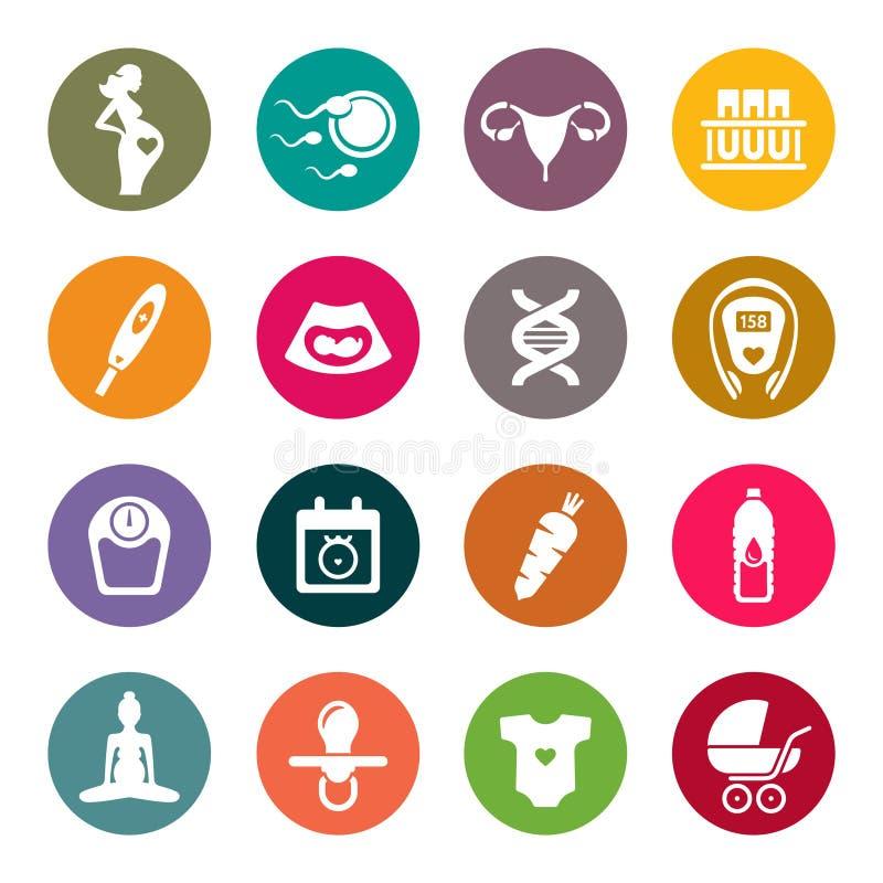 Ciążowy ikona set również zwrócić corel ilustracji wektora