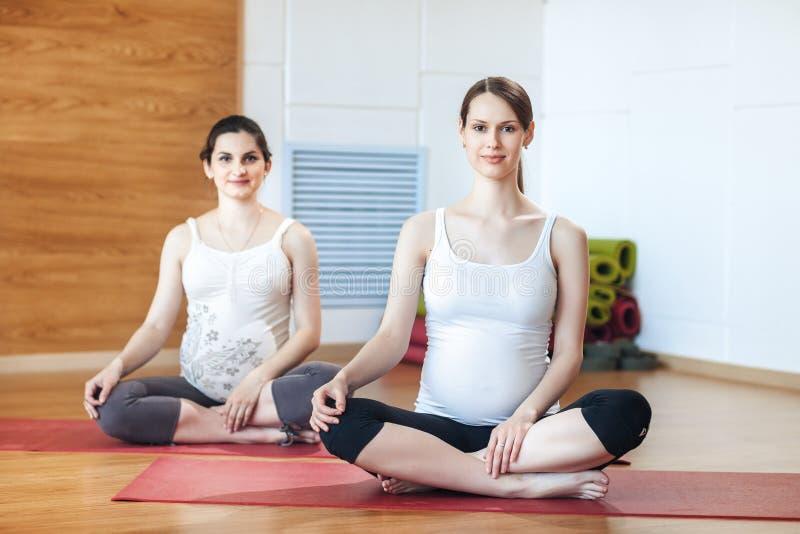 Ciążowy joga, sprawności fizycznej pojęcie Półpostaci zakończenie dwa pięknego młodego ciężarnego joga modeluje pracującego out i fotografia royalty free