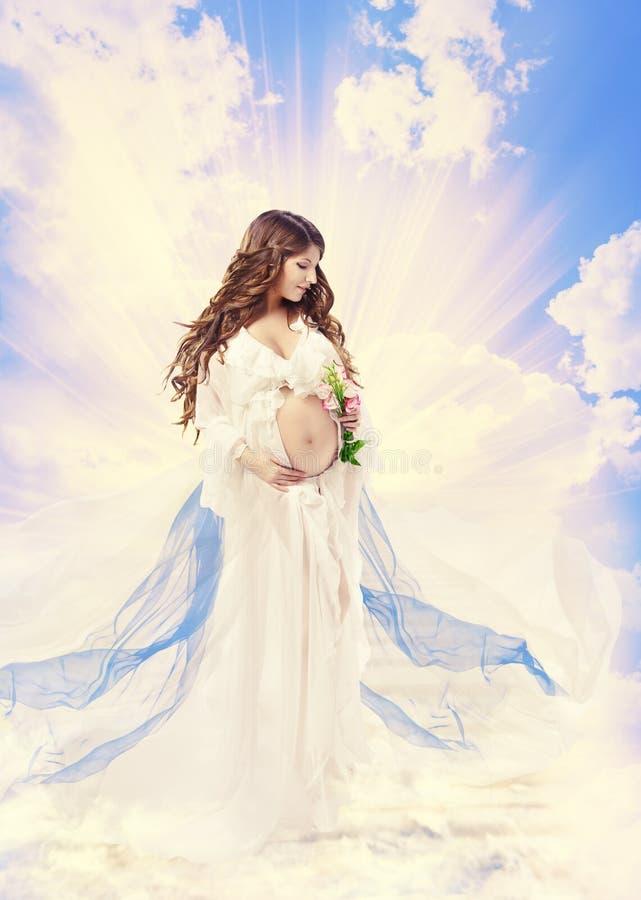 Ciążowy Macierzyński piękna pojęcie, Ciężarna Święta kobieta, święty M zdjęcia stock
