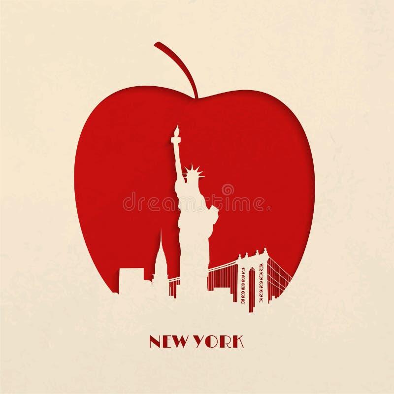 Ciąca sylwetka Duży Jabłczany Nowy Jork ilustracji
