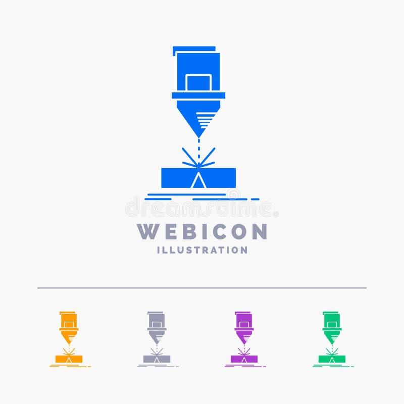 Ciący, konstruujący, zmyślenie, laser, stali 5 koloru glifu sieci ikony szablon odizolowywający na bielu r?wnie? zwr?ci? corel il ilustracji