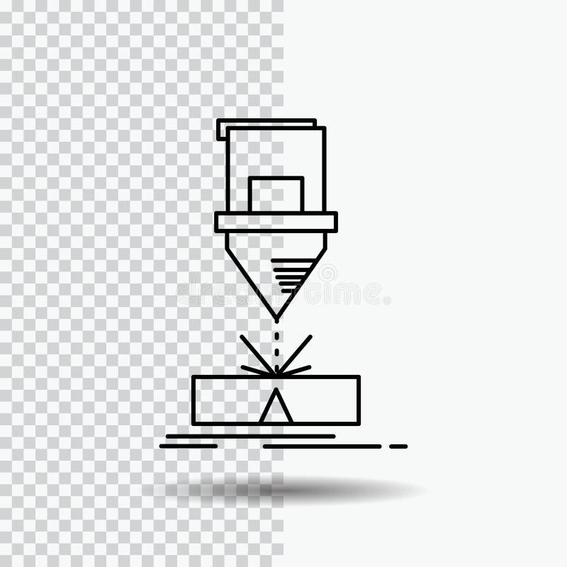 Ciący, konstruujący, zmyślenie, laser, stali Kreskowa ikona na Przejrzystym tle Czarna ikona wektoru ilustracja royalty ilustracja