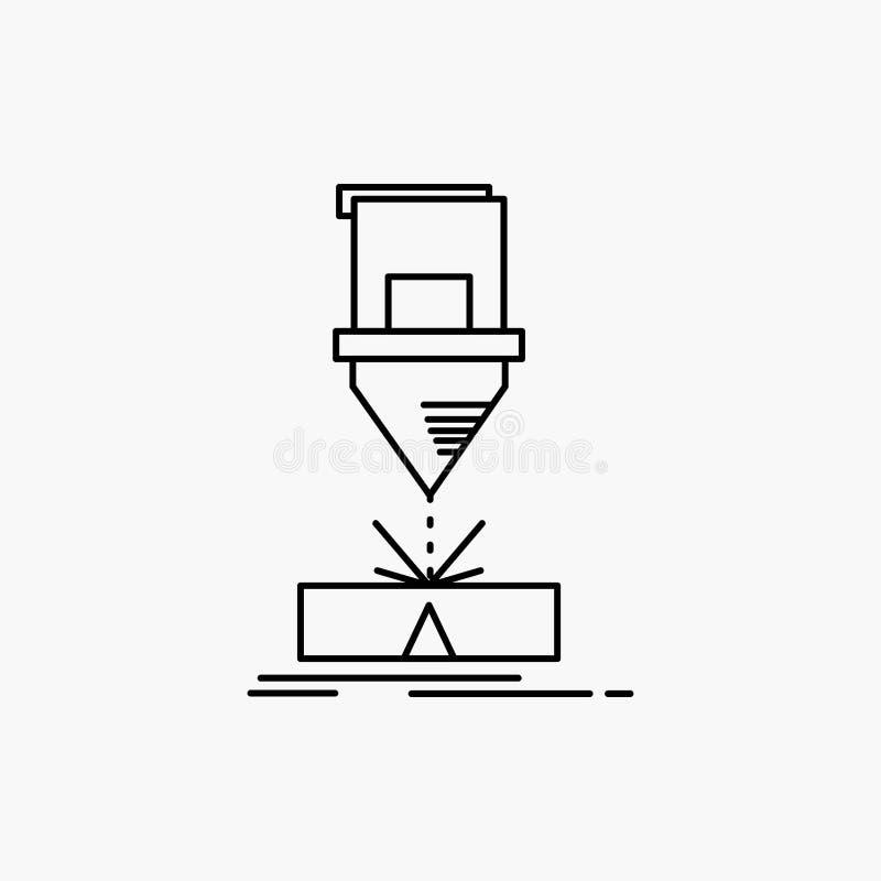 Ciący, konstruujący, zmyślenie, laser, stali Kreskowa ikona Wektor odosobniona ilustracja royalty ilustracja