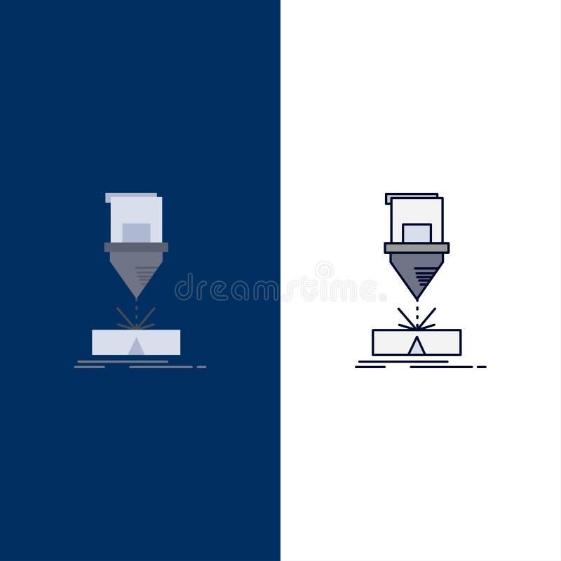 Ciący, konstruujący, zmyślenie, laser, stalowego mieszkania koloru ikony wektor ilustracji