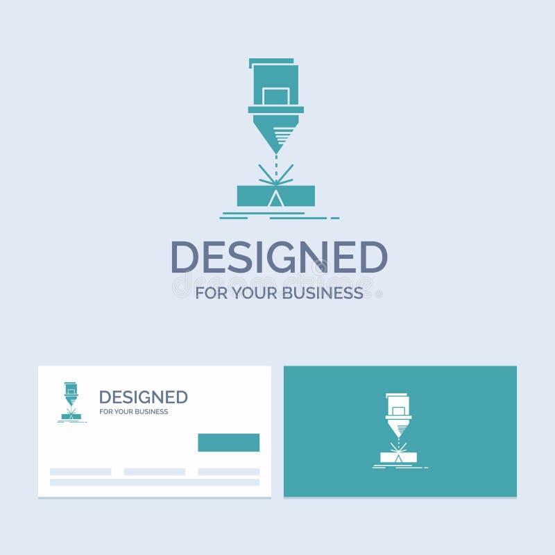Ciący, konstruujący, zmyślenie, laser, stalowy Biznesowy logo glifu ikony symbol dla twój biznesu Turkusowe wizyt?wki z royalty ilustracja