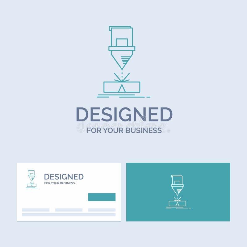 Ciący, konstruujący, zmyślenie, laser, stalowy Biznesowy logo linii ikony symbol dla twój biznesu Turkusowe wizyt?wki z ilustracja wektor