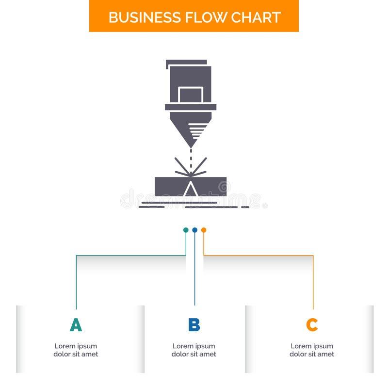 Ciący, konstruujący, zmyślenie, laser, stalowy Biznesowy Spływowej mapy projekt z 3 krokami Glif ikona Dla prezentacji t?a ilustracji