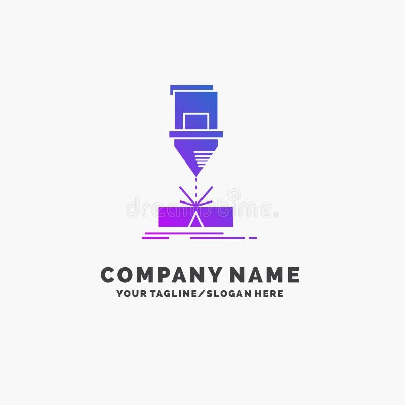 Ciący, konstruujący, zmyślenie, laser, stalowy Purpurowy Biznesowy logo szablon Miejsce dla Tagline ilustracja wektor