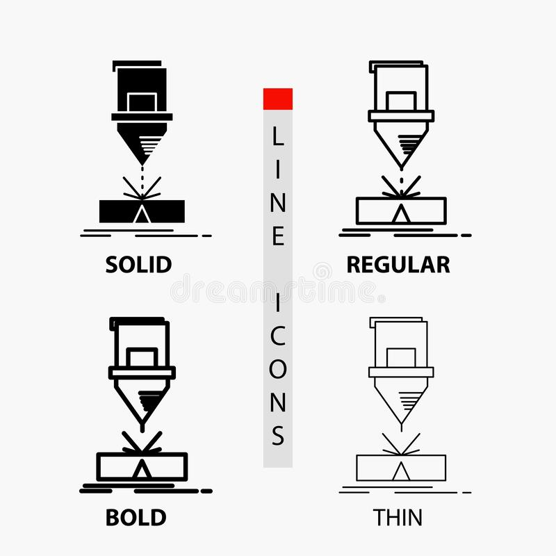 Ciący, konstruujący, zmyśleniu, laser, stalowa ikona w linii i glifie Cienkiej, Miarowej, Śmiałej, Projektuje r?wnie? zwr?ci? cor royalty ilustracja