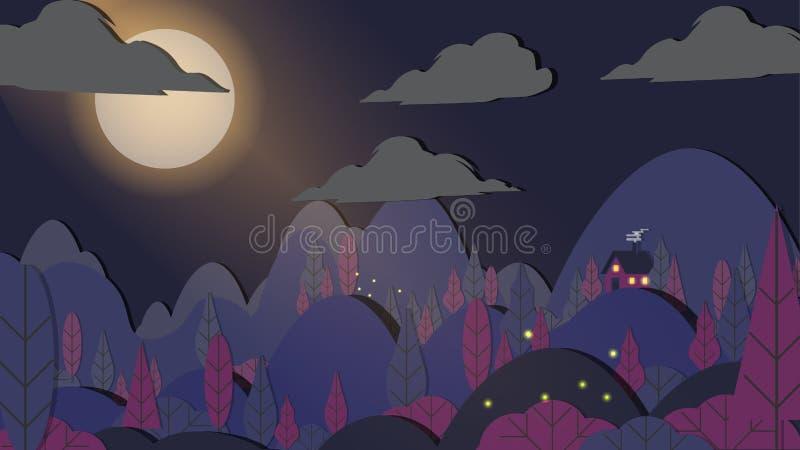 Ciący Stylowy Aplikacyjny las z mały dom nocy krajobrazem royalty ilustracja