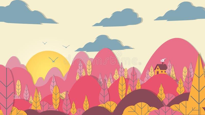 Ciący Stylowy Aplikacyjny las z małym domem - Wektorowy Illust ilustracji