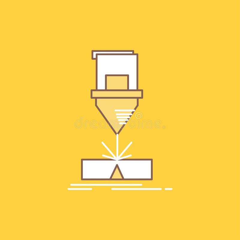 Ciący zmyślenie, konstruujący, laser, stalowego mieszkania linia Wypełniał ikonę Pi?kny logo guzik nad ? ilustracja wektor