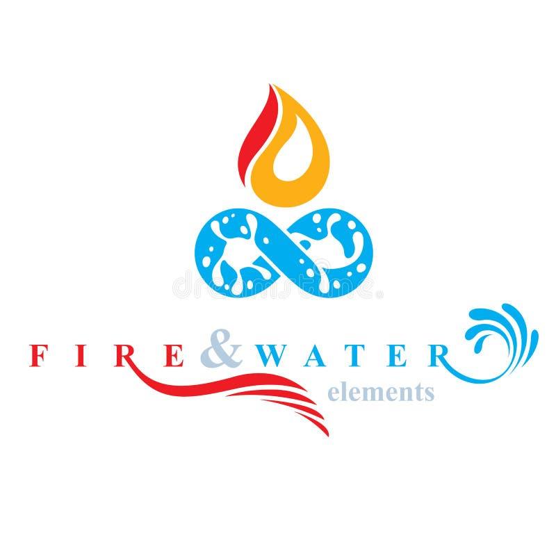 Ciągła harmonia między wodą i ogień natury elementami, vecto ilustracja wektor