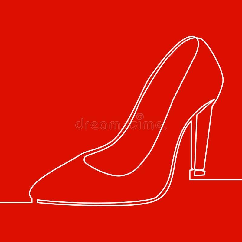 Ciągła jeden kreskowa damy szpilki buta ikona ilustracji