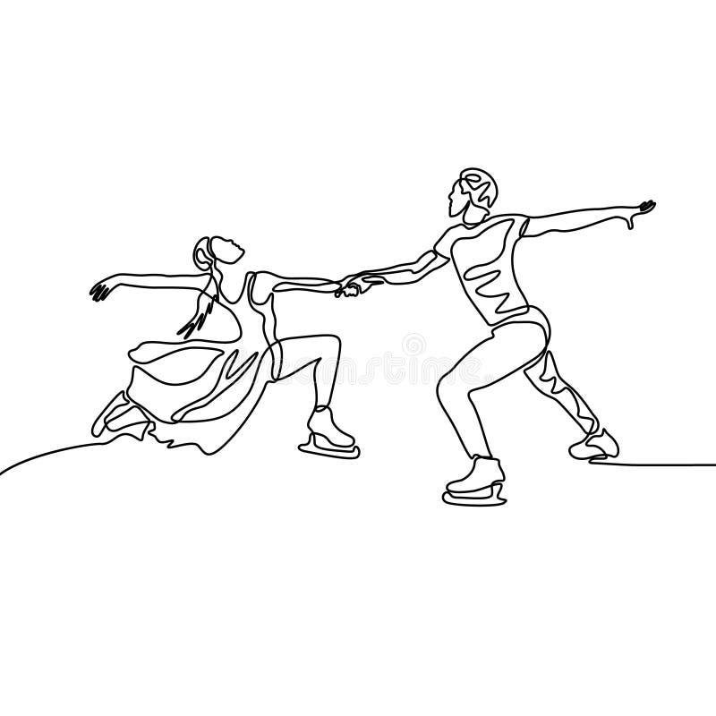 Ciągła jeden kreskowa namiętna para postaci łyżwiarki ilustracji