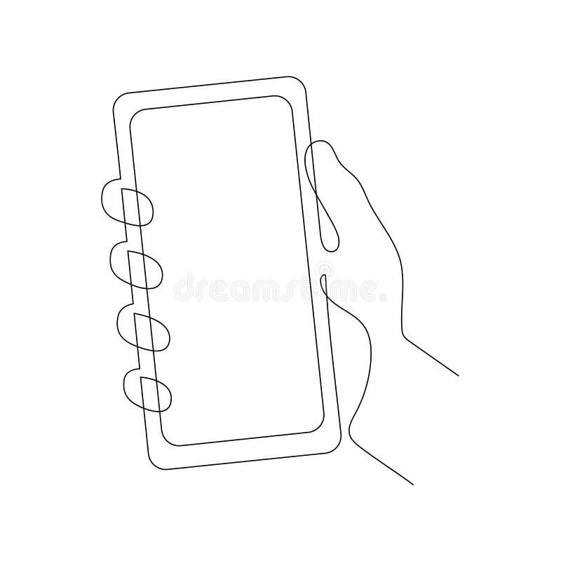 Ciągła jeden kreskowa wektorowa ilustracja ręki mienia smartphone royalty ilustracja