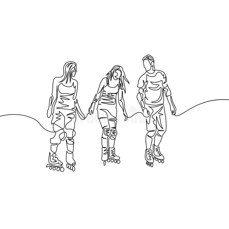 Ciągła jeden kreskowego rysunku grupa przyjaciele rollerblading Sport, rekreacyjny temat ilustracja wektor