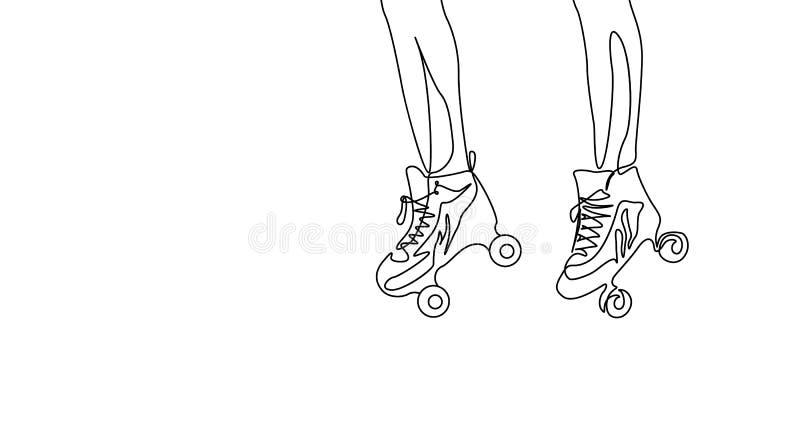 Ciągła jeden kreskowego rysunku para iść na piechotę w rolkowej łyżwie Sport, rekreacyjny temat ilustracji