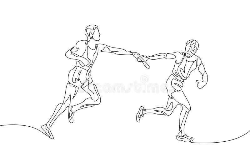 Ciągła jeden kreskowego rysunku sztafetowa rasa, biegacz przechodzi batutę Pracy zespo?owej poj?cie royalty ilustracja