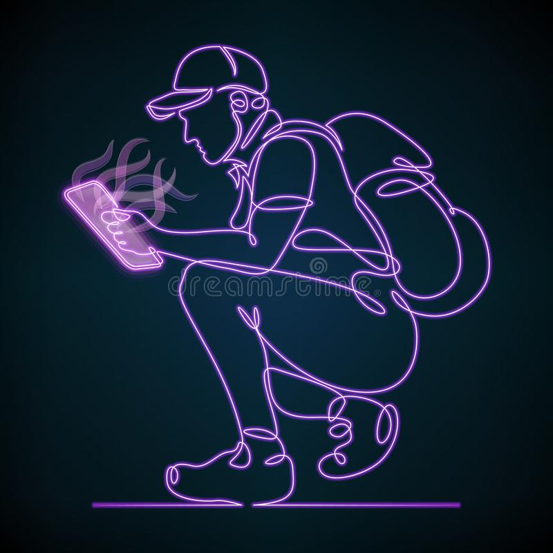 Ciągła jeden pojedyncza rysująca turysta linia z neonową pastylką, kontur, światło, laptop, ilustracji