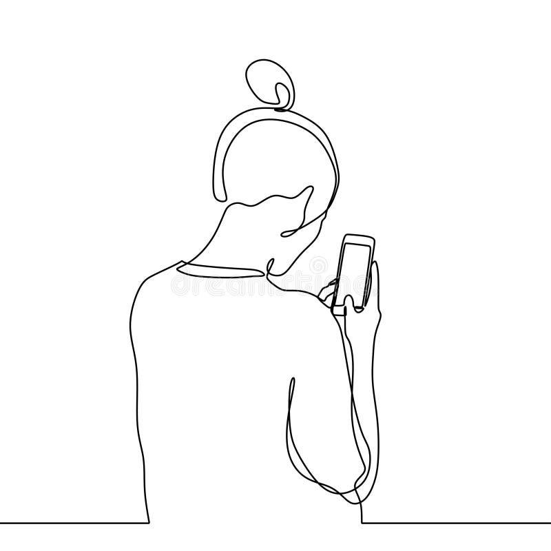 Ciągła kreskowego rysunku dziewczyna z smartphone gadżetu minimalistycznym projektem royalty ilustracja