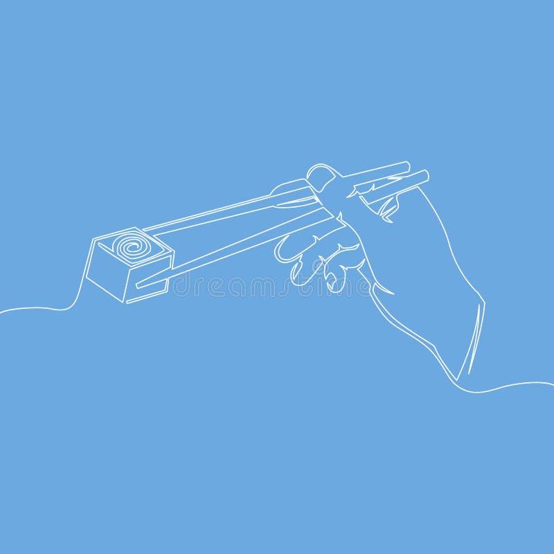 Ciągła pojedynczej linii ręka z chopsticks ilustracji