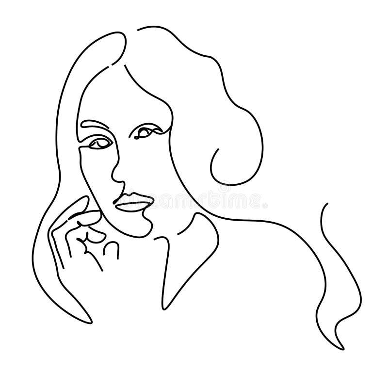 Ciągłe linie szkicują portret kobiety i abstrakcyjny rysunek ilustracja wektor