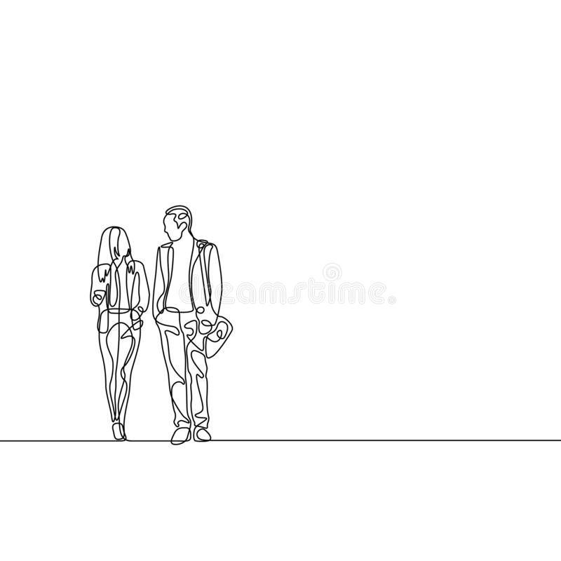 Ciągłej linii biznesmen i bizneswoman opowiada biznes ilustracja wektor