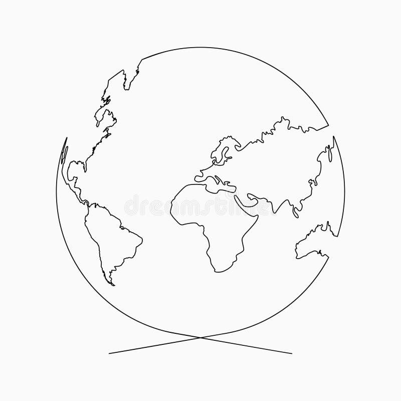 Ciągłej linii kula ziemska Planeta ziemia jeden kreskowy rysunek Pociągany ręcznie ilustracja dla loga, emblemata i projekta plak royalty ilustracja