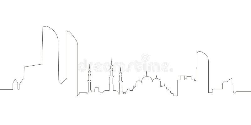 Ciągłej linii linia horyzontu Abu Dhabi ilustracja wektor